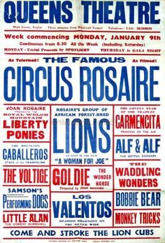 "Poster for the ""Circus Rosaire"" at the Queen's Theatre"