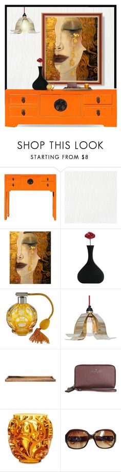 """""""Gustav Klimt"""" by amwmik ❤ liked on Polyvore featuring interior, interiors, interior design, home, home decor, interior decorating, Coach, Avon and Lalique"""