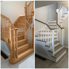 Cut off bottom curved tread, new vinyl flooring, painted accessories and refinished treads 🙌🏼 Cost Of Laminate Flooring, Flooring Store, Vinyl Plank Flooring, Staircase Railings, Curved Staircase, Staircases, Hallway Designs, Window Seats, Indoor Air Quality