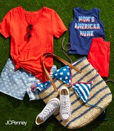 Get your Memorial Day outfits together—it's easy! Just start with red, white & blue, then add a straw tote, Converse sneakers, sunglasses and a patriotic bathing suit for you and the kids. What else? Just hot dogs and hamburgers please!
