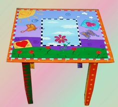 Image detail for -... hand painted kids table and chair set whimsical elephants don kooky