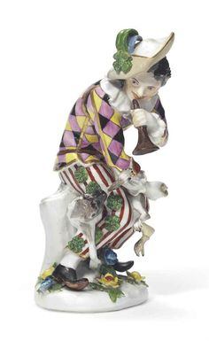A MEISSEN FIGURE OF HARLEQUIN, ca. 1740. Sold for $78,800.00 !!!