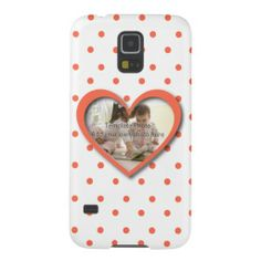 Personalized Love heart photo frame and dots Galaxy S5 Cases