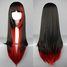 Black and Red Mixed Color 70cm Punk Lolita Wig