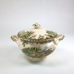Brown Transferware Sugar Bowl Made in England