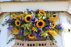 #Yellow wedding flowers, yellow, green #orchid & #blue #iris wedding, #Sunflower #wedding