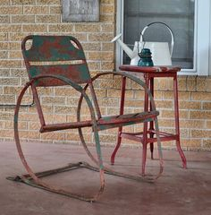 Vintage on the Front Porch. Love this chippy red and turquoise chair! Vintage Outdoor Furniture, Metal Garden Furniture, Antique Furniture, Painted Furniture, Outdoor Chairs, Indoor Outdoor, Outdoor Living, Outdoor Decor, Metal Lawn Chairs