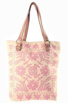 Antique Floral Canvas Bag