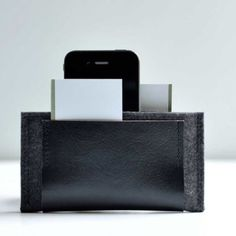 Leather and felt iPhone wallet