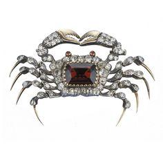Victorian Garnet & Diamond Crab Brooch #AntiqueJewelry