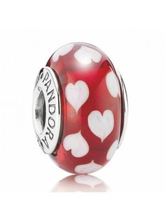 Pandora Red And White Hearts Murano Glass Bead 790948