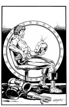 John Cole Demon in a bottle. Marvel Comic Books, Comic Books Art, Comic Art, Marvel Comics, Black And White Comics, Valiant Comics, Iron Man Armor, Suit Of Armor, Deathstroke