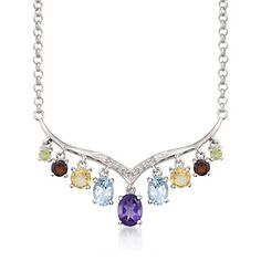4.20 ct. t.w. Semiprecious Gem and .10 ct. t.w. Diamond Tiara Necklace in Sterling Silver. 18