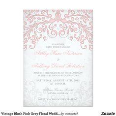"Vintage Blush Pink Grey Floral Wedding Invitation 5"" X 7"" Invitation Card #zazzlemecrazy"