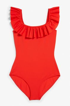 35b1a2be19a9f A high-leg swimsuit with ruffles around the neck 'n' shoulders. And
