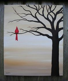 One lone cardinal sitting on tree silhouette. Beginner painting idea.