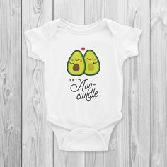 b341b82a6 Let's Avocuddle Onesie, Bodysuit, Cute, Vegan Baby Gifts, Vegan Baby Shower,
