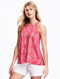 af922942ca38e Pink and white printed high neck trapeze tank Petite Women