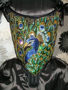 miss-martini-corsets:  18th Century Corset Handmade Sequin Peacock stanilievvia Etsy