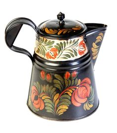 Antique Coffee pot (...cr...love this country painting design....wish I had the pattern...I have lots of patterns all painted up, but not this one....)