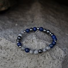 Unisex beaded gemstone bracelet, Lapis Lazuli, Gematite and Picasso Jasper Bracelet, Healing Stones Stretch Bracelets, Bracelets For Men, Beaded Bracelets, Pouch Bag, Healing Stones, Lapis Lazuli, Picasso, Jasper, Unisex