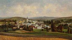 ANTONÍN CHITTUSSI (1847-1891)  Pohled na Nové Město na Moravě / olej na plátně / 40 x 69,5 cm