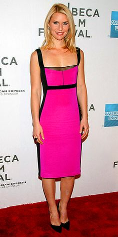 CLAIRE DANES  Sleek black edging gives the star's hot pink Narcisco Rodriguez dress a sexy and sophisticated twist at the Tribeca Film Festival premiere of Hysteria in N.Y.C., where she finishes the look with a cocktail ring and black pumps.