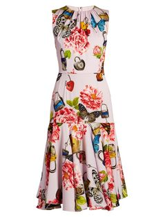 Dolce & Gabbana Butterfly And Padlock-print Stretch-silk Dress In Pink Base Floral Dressy Dresses, Cute Dresses, Beautiful Dresses, Summer Dresses, Sleeveless Dresses, Mode Plus, Online Dress Shopping, Shopping Sites, Pageant Dresses