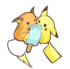 PikaCicle. Raichu, Pikachu (by うさ乃@7月まで活動休止気味, Pixiv Id 1848740)