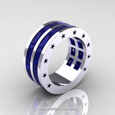 Mens Modern 14K White Gold Baguette Blue Sapphire Channel Star Cluster Star Infinity Wedding Ring
