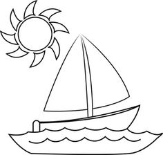 Sailboat Clipart Image: Coloring Page of a Small Sailboat on a Lake with the Sun Overhead