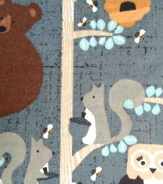Snuggle Flannel Fabric - Honey Bears In Trees