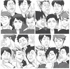 Bokuto Kuroo Akaashi oikawa iwaizumi | i love how whoever holds the phone looking good af but the rest just spoils it. And you have oikawa looking fab in all 4.