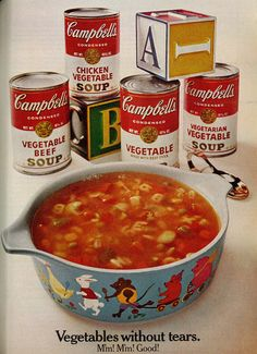 1968 Campbell's Soup Ad, 4 Vegetable Soups