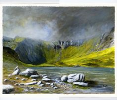 A beautiful painting of the Snowdonia region in North Wales. Cwm Idwal by sarymstudio on Etsy, £550.00