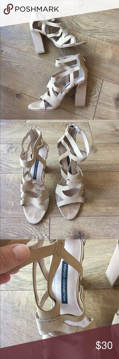 French connection heel Worn once to a wedding. Perfect condition! Zipper back, thick heel (great for walking on grass!). French Connection Shoes Heels