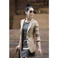 Slim Fit Lapel Simple Single Button Women's Blazer