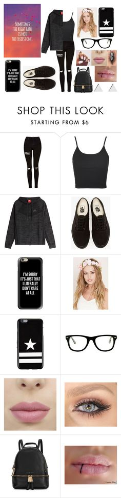 """""""Sometimes the right path is not the easiest one"""" by mm2004 ❤ liked on Polyvore featuring Topshop, NIKE, Vans, Casetify, Forever 21, Givenchy, Muse, Michael Kors, Jennifer Meyer Jewelry and tumblr"""