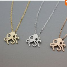 "Silver octopus necklace New in packaging. Only available in silver. Metal is zinc alloy. Length is 18"". No trades Jewelry Necklaces"