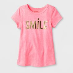 Toddler Girls  Adaptive Short Sleeve Smile Graphic T-Shirt - Cat   Jack  Coral 4T 2bd3a4705