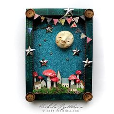 Pixie Hill: A Glorious Moon and Morning Diy And Crafts, Crafts For Kids, Arts And Crafts, Paper Crafts, Box Frame Art, Box Frames, Painted Wooden Boxes, Recycled Gifts, Garden Wall Art