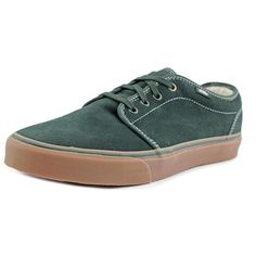 Vans Vans 106 Vulcanized Round Toe Suede Skate Shoe ($49) ❤ liked on Polyvore featuring men's fashion, men's shoes, men's sneakers, green, shoes, vans mens shoes, mens suede shoes, mens suede sneakers, mens green shoes and mens skate shoes