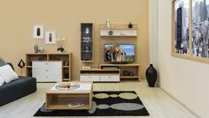 Bling - modern nappali világos sonoma tölgy  - fényes fehér színben. Corner Desk, Bling, Furniture, Home Decor, Corner Table, Jewel, Decoration Home, Room Decor, Home Furnishings