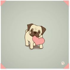 Pug with love to give vector art illustration