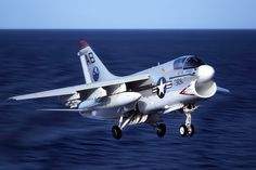 Navy A-7 Corsair  Only Barricade arrestment I was a part of (V-2 div. A/G), came in with LH main gear stuck in the well and hung ordinance on the right wing....USS Ranger CV-61