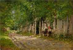 Nicolae Grigorescu / Fete lucrand la poarta / Panza, ulei / cm / Girls spinning at the Gate Landscape Photos, Landscape Paintings, Country Landscaping, Vintage Wall Art, Art Database, Artist Art, Beautiful Landscapes, New Art, Art History