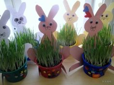 Bunnies watching the grass grow by noelle Easter Art, Hoppy Easter, Easter Crafts For Kids, Toddler Crafts, Easter Bunny, April Preschool, Preschool Crafts, Fun Crafts, Paper Crafts