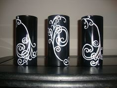 Set of three hand painted vases :)