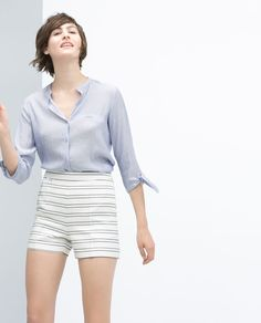 Image 4 of FRONT CREASE STRIPED SHORTS from Zara