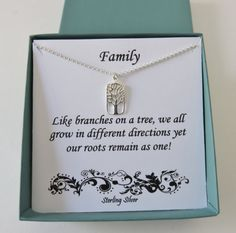 Family Tree of Life Jewelry, family tree jewelry, rectangle, mother's gift, family necklace, tree of life, sterling silver necklace, mhd